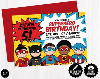 Superhero Invitation Template Printable Superheroes Comic