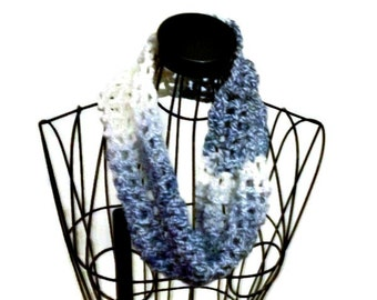 Scarf White and Gray Crochet  All  Seasons  Scarf Gift for Her Gift for Mom