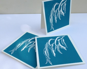 Lino print greeting card - handmade - Gum Leaf Design