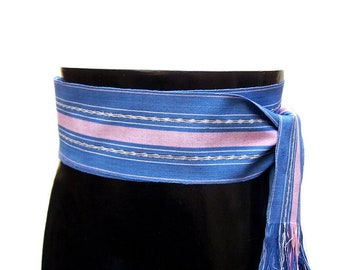 Denim Blue Sash, SA65 - Woven Belt - Guatemalan Textiles - Ikat Fabric - Ethnic Sash - Bohemian Belt - Gypsy Clothing - Blue Sash Belt