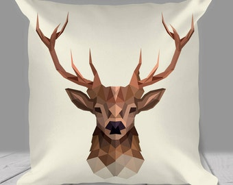 Stag Pillow / Cushion - Geometric Print