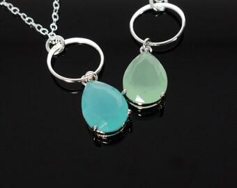 Eternal Circle Necklace Blue Green CZ drop, Circle Necklace, Sterling Circle, CZ Teardrop Necklace,  Wedding, Pastel, Gift