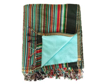 Kikoy Towel Striped with Turquoise backing