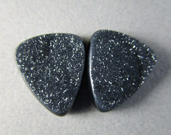 Black Drusy Quartz Cabs / Drusy Quartz Cabochons / Matched Pair of Drusy Quartz