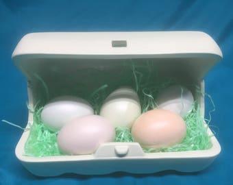 Ceramic easter eggs with a ceramic egg carton