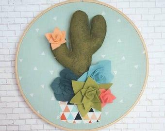 Potted cactus with succulents hoop art, cactus decor, succulent decor, 8 inch hoop art