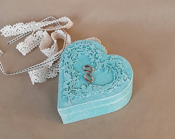 Wedding ring box, heart,  wooden turquoise box, unique gift, Vintage look