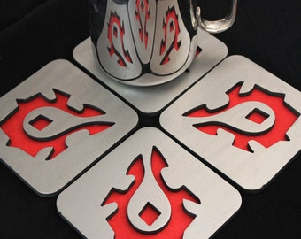 Horde Steel Coaster Set of 4, Horde, World of Warcraft, WoW, Orc, Troll, Undead, Tauren, Goblin, Blood Elves, Pandaren
