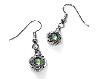 Small Silver Celtic Earrings, Apple Green Jewelry, Stainless Steel French Earring Hooks