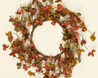 Large Pip Berry Candle Ring-Fall Wreath-Fall Decor-Pip Berry Centerpiece-Primitive Centerpiece-Rustic Centerpiece - Free Shipping