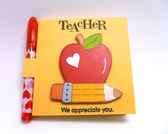 Teacher Sticky Note Gift, School Theme Note Set, painted wooden apple