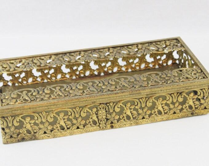 Vintage 1950s Gold Filigree Tissue Holder, Cherub Patterned