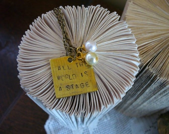 Book Nook, All the World is A Stage, Shakespeare Necklace, As You Like It, Quote Necklace, Gold Chain, Literature Necklace, MarjorieMae