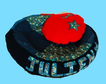 Personalised Pet bed, Custom made pet bed, dog bed, cat bed, Pet furniture, Donut pet bed, Round pet bed, Patchwork Pet bed, Fabric Pet bed