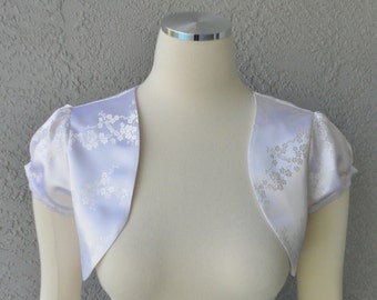 Bridal Wedding Cherry Blossom White Brocade Bolero Shrug