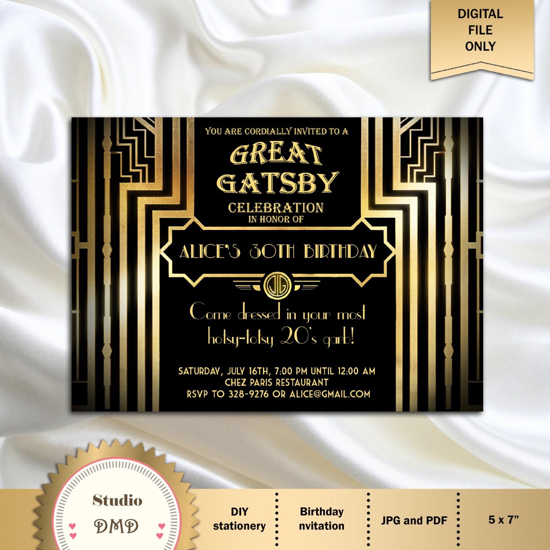 Ben noto Invito festa di compleanno di grande Gatsby stile Art Deco 21 YN03