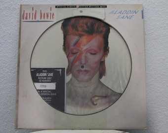 """David Bowie - """"Aladdin Sane"""" vinyl record, Picture Disc, Limited Edition, Number 7753 (NT)"""