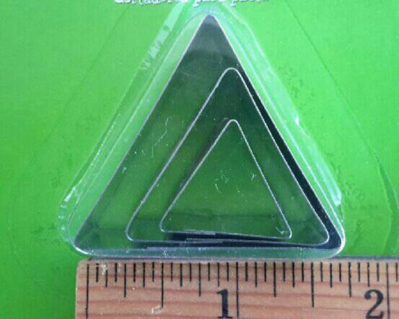 """3 piece triangle cookie cutter set with sizes from 7/8"""" to 1-3/4"""" tall"""