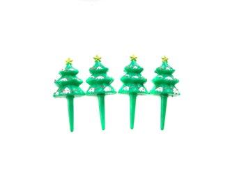 Christmas Tree Cupcake Toppers, Vintage Christmas Cake Toppers, Christmas Cup Cake Toppers