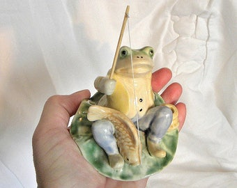 Frog Fishing Vintage Ornament