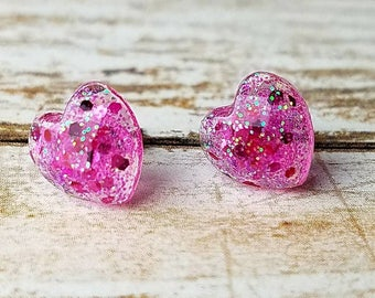 Heart Studs Heart Gifts Valentines Earrings Valentine Gift Resin Jewelry Womens Gift for Girls Tiny Glitter Studs Top Selling Items
