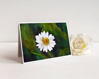 Daisy Watercolor Art Card, 5x7 Greeting Card, Floral Painting, Garden Art, Flower Birthday Card, Card for Mom Grandma, Flower Watercolor