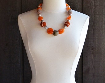 Multicolor necklace, felt necklace, wool necklace, orange necklace, earth tone necklace, copper brown necklace, wool beads, gift for women