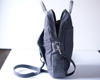 messenger, tote canvas bag top zip - Tote no.1 in gunmetal gray water resistant canvas