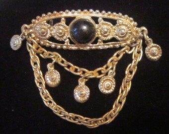 Vintage Bar Brooch With Dangling Chains