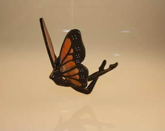 Stained Glass Fairy Nymph Monarch Butterfly Hand-Painted Flying Figurine - Made to Order (MON026)