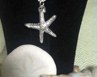 Fine Silver Starfish Pendant on Sterling Silver Box Chain. Fast FREE SHIPPING, Great Gift for Bridesmaids, Teachers, Beach Wedding Jewelry