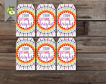 sunglasses class gift, your future is bright, student gift tag, class gift, teacher printable, bright year tag, teacher tag, end of year