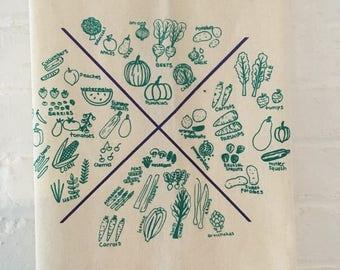 Vegetable Tea Towel, Screen Printed Flour Sack Towel, Natural Towel