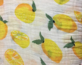 Bright Yellow Lemon Muslin Gauze swaddle fabric