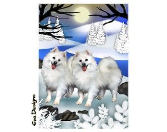 AMERICAN ESKIMO dogs frozen river  puppy art print card ACEO