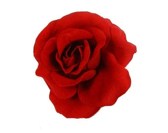 large red rose hair clip , for evenings out
