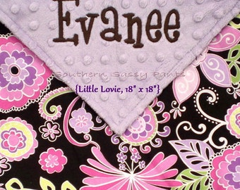 Personalized Baby Girl Security Blanket Minky Lovie SMALL Size Blankie - Limited but still available - READ Description