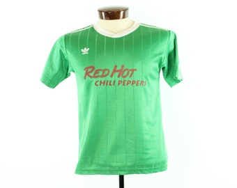 80s ADIDAS T-Shirt Jersey Red Hot Chili Peppers Athletic Sports Gym Tee Green White Trefoil Vintage 1980s Small S