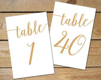 Printable Table Numbers Wedding 1-40 // Caramel Gold Table Numbers, Gold Wedding Decor // 5x7, 4x6 Table Numbers Wedding