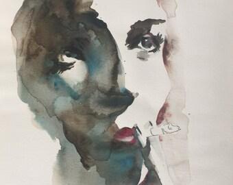 """Portrait IV ORIGINAL WATERCOLOUR painting 11.5 """" x 16"""""""