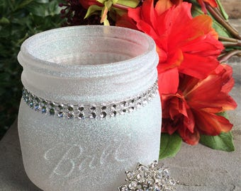 Diamond Dust Glitter Painted Pint Widemouth Mason Jar, Rhinestone Bling Decor, Wedding centerpiece, New Years party decor, Winter Wonderland