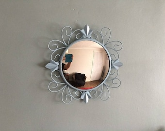 1950's vintage convex painted metal mirror