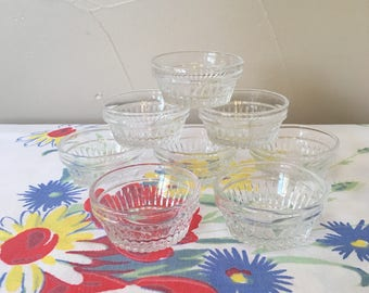 Glass Salt Cellars 8, Clear Glass Salt Dips, Vintage Libbey USA Duratuff Dipping Dishes, Set of 8 clear glass small dipping salt dishes