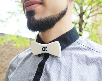 Bow tie 3D print - white and black, blue or red - bow 3d printed diamond pattern