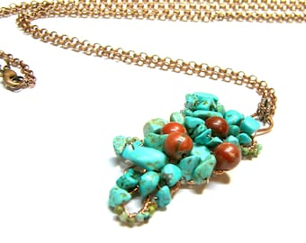 Free form Pendant, Turquoise Pendant, Red Jasper Pendant, wire wrap turquoise stone, etsy pendant, gift for her, top selling jewelry,