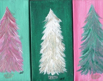 Original winter trees Mini Canvas Art Paintings - Set of 3 Pink, White and Green, Silver accents Tree Mini Canvas with Easels