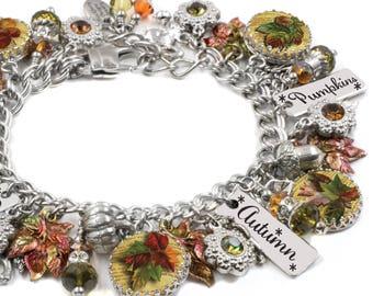 Leaf Charm Bracelet, Autumn Jewelry, Fall Bracelet, Fall Jewelry, Enamel Leaf Charms, Jewelry for Fall