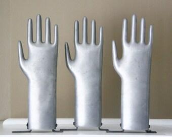 Vintage Metal Glove Hand Mold Industrial Grey Mannequin Style Decor Display