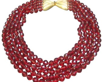 Valentino Ruby Red Crystal Bib Necklace. 1980's.