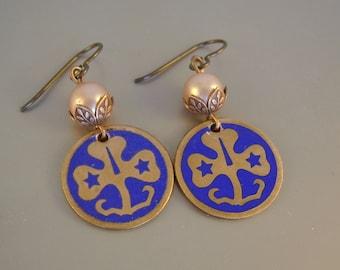 Brownie Points - Vintage 1960s Copper Girl Scout Brownie Trefoil Pins Pearls Niobium Wires Recycled Repurposed Earrings